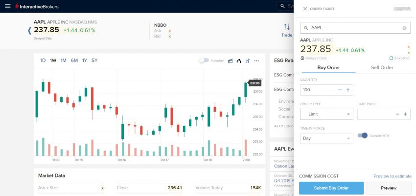 За окном информации о рынке вы найдёте главную панель управления